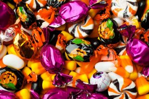 Close up of a variety of Halloween candy